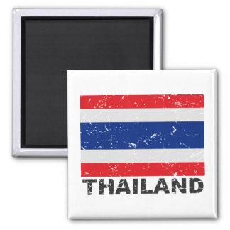 Thailand Vintage Flag Square Magnet
