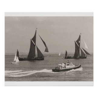 Thames Barge Race 1975, launch and flotilla Poster