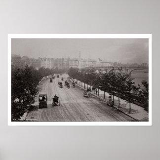 Thames Embankment (sepia photo) Poster