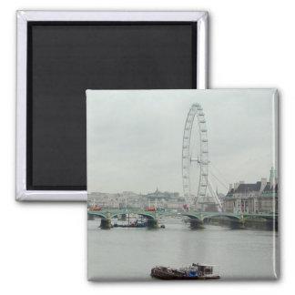 Thames River Low Tide--London Eye Square Magnet