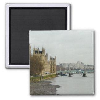 Thames River Low Tide--Parliament/Westminster Square Magnet