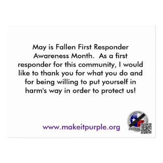 Thank A First Responder Post Card