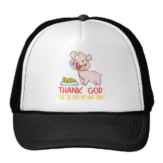 Thank God for the Food with Happy Piglet Hats