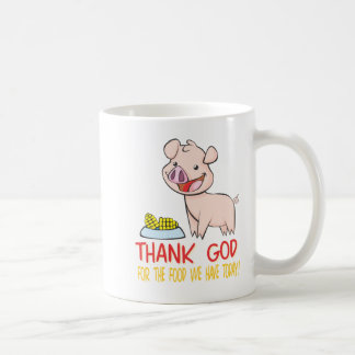Thank God for the Food with Happy Piglet Mugs