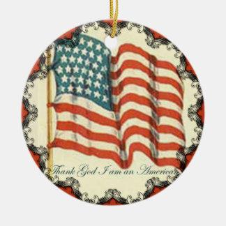 Thank God Im An American Flag Ornament