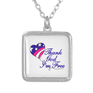 Thank God I'm Free Square Pendant Necklace