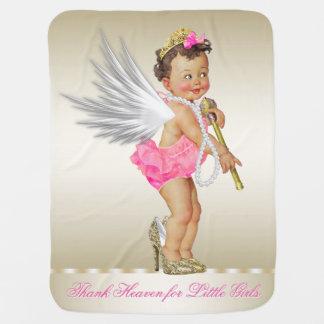 Thank Heaven for Little Girls Angel Pearls Girl Receiving Blankets