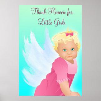 Thank Heaven for Little Girls Baby Shower Banner Poster