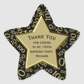 Thank You - 100th Birthday Black and Gold Star Star Sticker