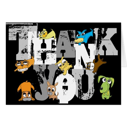 Thank You 12 dogs Illustration Card
