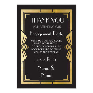 Thank You 1920s Engagement Wedding Party Cards 9 Cm X 13 Cm Invitation Card