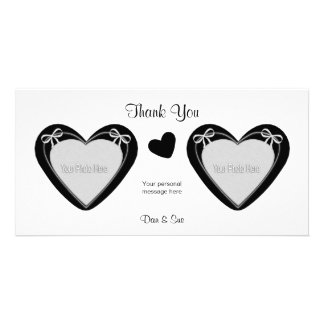 Thank You - 2 Photos - Black Hearts on White Personalized Photo Card