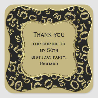 Thank you - 50th Birthday Black and Gold Party Square Sticker