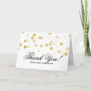Thank You 50th Birthday Gold Foil Glitter Lights Card