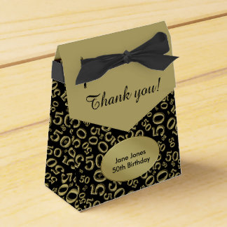 Thank You: 50th Birthday Theme Gold/Black Favour Box