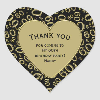 Thank you - 60th Birthday Black and Gold Heart Heart Sticker