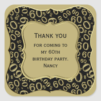 Thank you - 60th Birthday Black and Gold Party Square Sticker