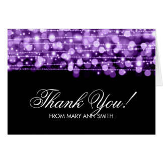 """""""Thank you"""" 60th Birthday Party Sparkles Purple Card"""