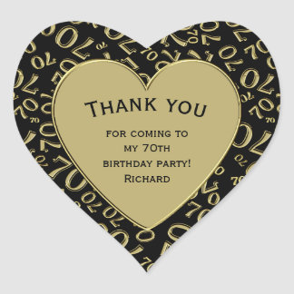 Thank you - 70th Birthday Black and Gold Heart Heart Sticker