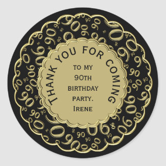 Thank You 90th Birthday Black and Gold Theme Classic Round Sticker