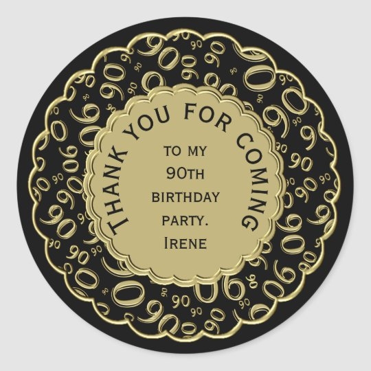 Thank You 90th Birthday Black and Gold Theme