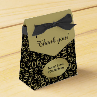 Thank You:  90th Birthday Theme Gold/Black Favour Box