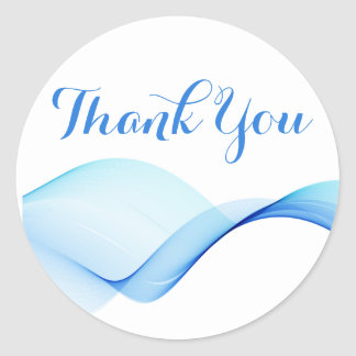 Thank You Abstract Ocean Wave Blue And Turquoise Round Sticker