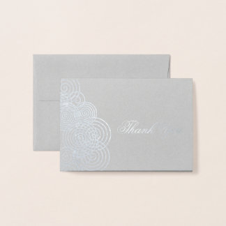 Thank You Abstract Swirl Circles Foil Card
