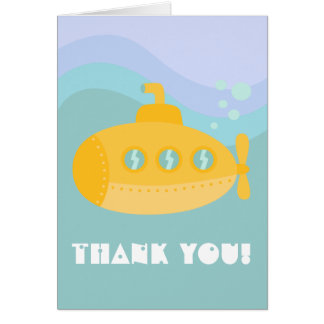 Thank you - Adorable Yellow Submarine Underwater Note Card