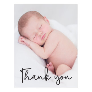 Thank You and Baby Birth Announcement, Script text Postcard