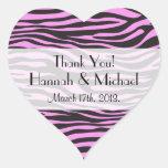 Thank You - Animal Print, Zebra - Pink Black Heart Stickers