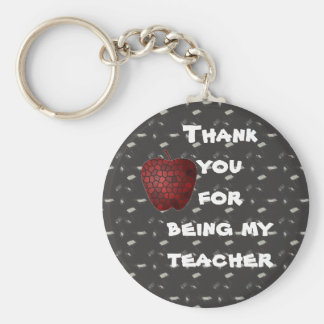 Thank You Appreciation Teacher Mosaic Red Apple Key Ring