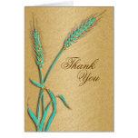 """Thank you"" aqua gold wedding template"