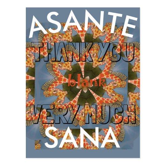 Thank You Asante Sana Beautiful African Giraffe Postcard