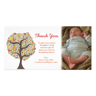 Thank You Autumn Bird Tree New Baby Gift Photocard Personalized Photo Card
