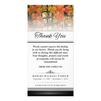 Thank You Autumn Leaves Words Cannot Express Photo Card Template