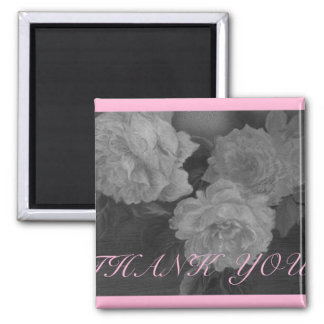 THANK YOU B&W illustrated ROSES Square Magnet