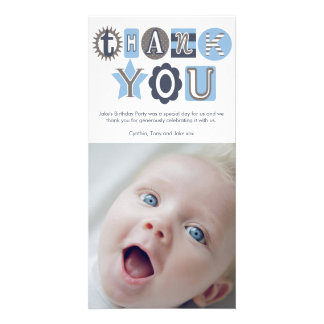 Thank You Baby Blue Boys Typography Photo Cards