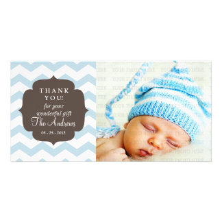 Thank You Baby Blue Chevron Zigzag Stripes Customised Photo Card