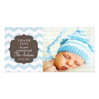 Thank You Baby Blue Chevron Zigzag Stripes Customised Photo Card