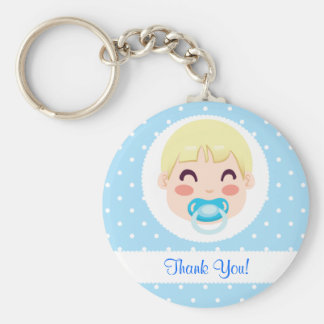 Thank You Baby Boy Design Basic Round Button Key Ring