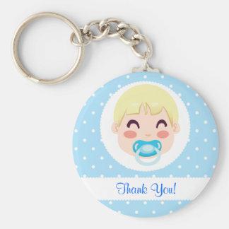 Thank You Baby Boy Design Basic Round Button Key Ring