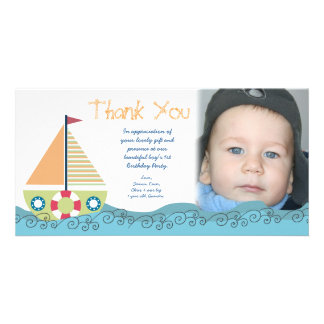 Thank You Baby Boy s 1st Birthday Party Photocard Customized Photo Card