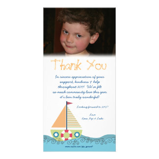 Thank You Baby Boy's 1st Birthday Party Photocard Customised Photo Card