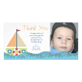 Thank You Baby Boy's 1st Birthday Party Photocard Photo Card Template