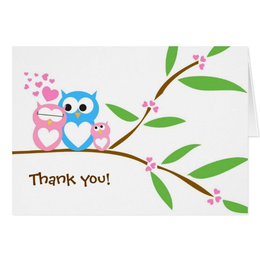 Thank you Baby Girl Owl Baby Shower Note Card