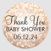 Thank You Baby Shower Copper Glitter Lights