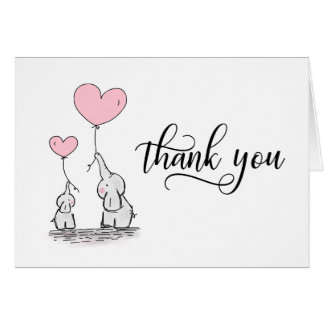 THANK YOU Baby Shower Elephant Girl Pink | BLANK Card