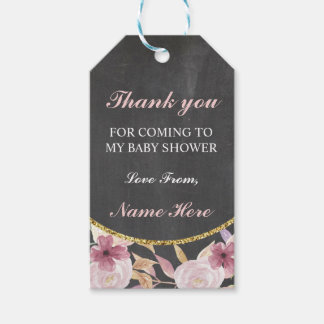 Thank You Baby Shower Girl Vintage Floral Tags