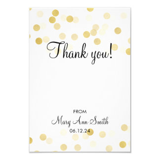 Thank You Baby Shower Gold Foil Glitter Lights 9 Cm X 13 Cm Invitation Card